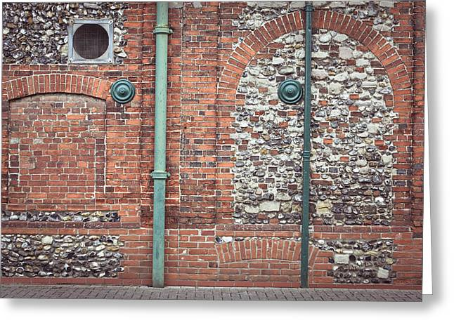 Drain Greeting Cards - Pipes and wall Greeting Card by Tom Gowanlock