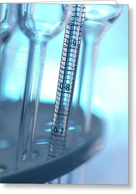 Pipette And Laboratory Glassware Greeting Card by Tek Image