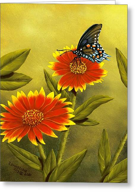 Swallowtail Greeting Cards - Pipevine Swallowtail and Blanket Flower Greeting Card by Rick Bainbridge