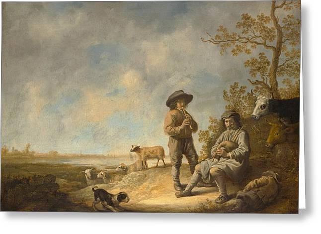 Dutch Shepherd Greeting Cards - Piping Shepherds Greeting Card by Aelbert Cuyp