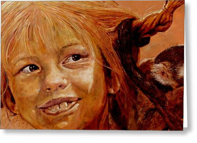 Art Book Greeting Cards - Pippi Longstocking Greeting Card by Richard Tito