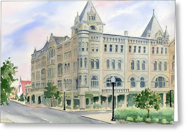 Library Paintings Greeting Cards - Piqua Library Greeting Card by Marsha Elliott
