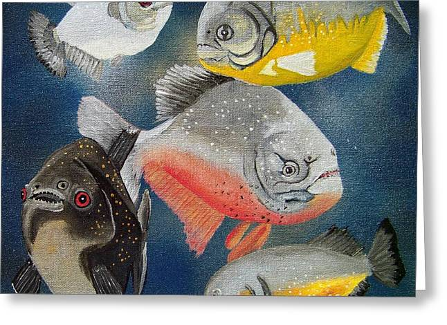 Pirahna  Fish Greeting Card by Debbie LaFrance