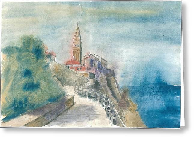 St Piran Greeting Cards - Piran - St. George Church Greeting Card by Marko Jezernik