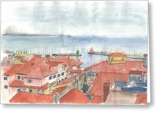 St Piran Greeting Cards - Piran - View from St.Georges Church Greeting Card by Marko Jezernik