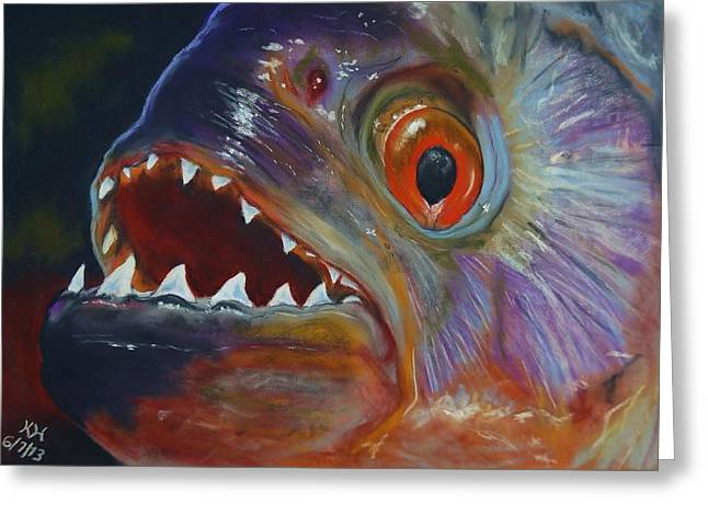 Dinner Pastels Greeting Cards - Piranha Greeting Card by Kevin Hubbard