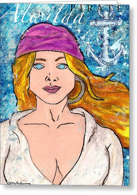 Hawaiian Pastels Greeting Cards - Pirate Alwilda Greeting Card by William Depaula