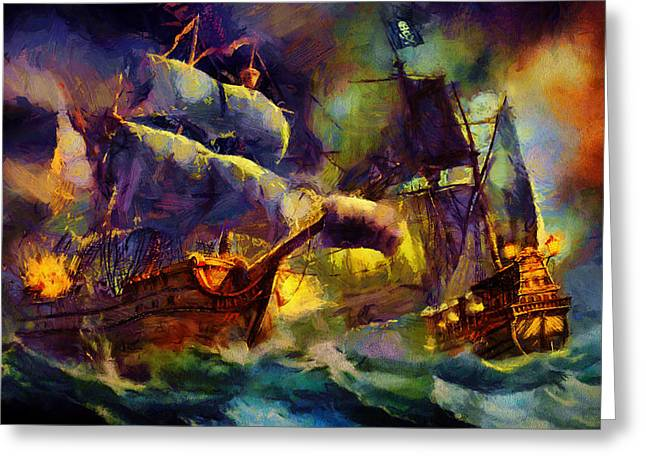 Recently Sold -  - Pirate Ships Greeting Cards - Pirate Battle Greeting Card by Christopher Lane