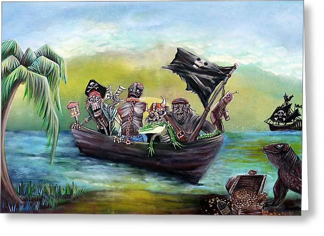 Pirates Mixed Media Greeting Cards - Pirate Booty Beach Greeting Card by Laura Barbosa