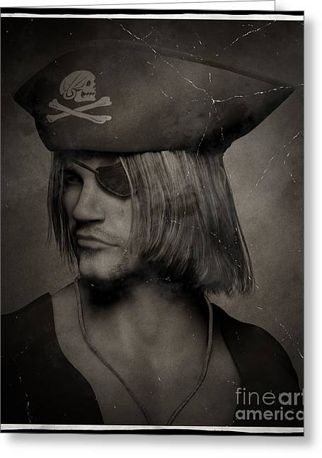 Captains Quarters Greeting Cards - Pirate Captain Portrait - Antique Effect Greeting Card by Fairy Fantasies