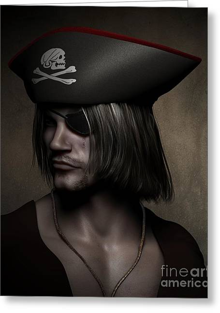 Captains Quarters Greeting Cards - Pirate Captain Portrait Greeting Card by Fairy Fantasies