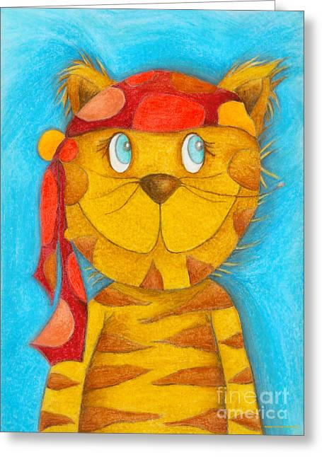 Crafts For Kids Greeting Cards - Pirate Cat Greeting Card by Sonja Mengkowski
