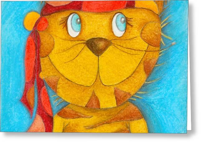Pirate Cat Greeting Card by Sonja Mengkowski