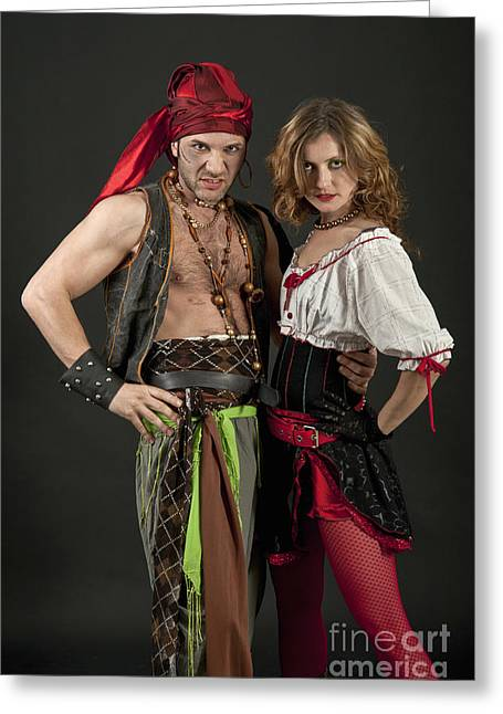 Halloween Party Greeting Cards - Pirate Couple  Greeting Card by Ilan Amihai