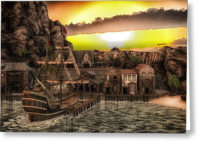 Historic Schooner Digital Greeting Cards - Pirate Cove Greeting Card by Todd and candice Dailey