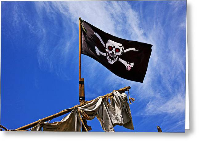 Sculling Greeting Cards - Pirate flag on ships mast Greeting Card by Garry Gay