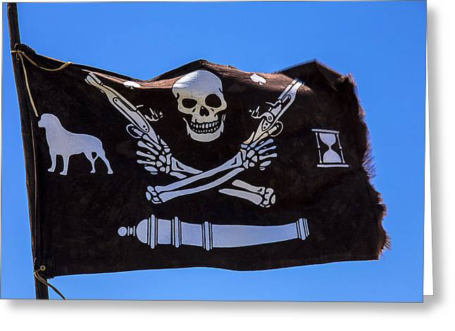 Sculling Greeting Cards - Pirate flag with skull and pistols Greeting Card by Garry Gay