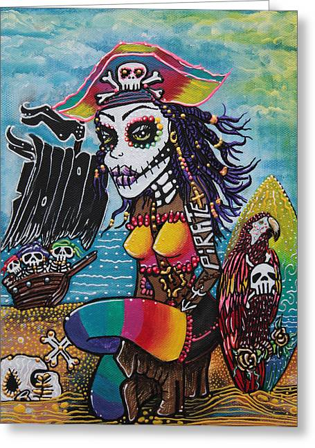 Pirate Ship Greeting Cards - Pirate Girl - Surfs Up Greeting Card by Laura Barbosa