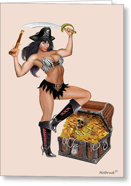 Treasure Chest Gold Coins Pirates Greeting Cards - Pirate Girls Treasure Chest Greeting Card by Glenn Holbrook