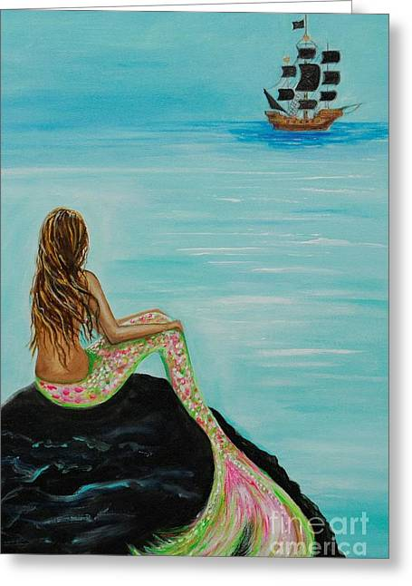 Picture Of Mermaids Greeting Cards - Pirate Island Greeting Card by Leslie Allen