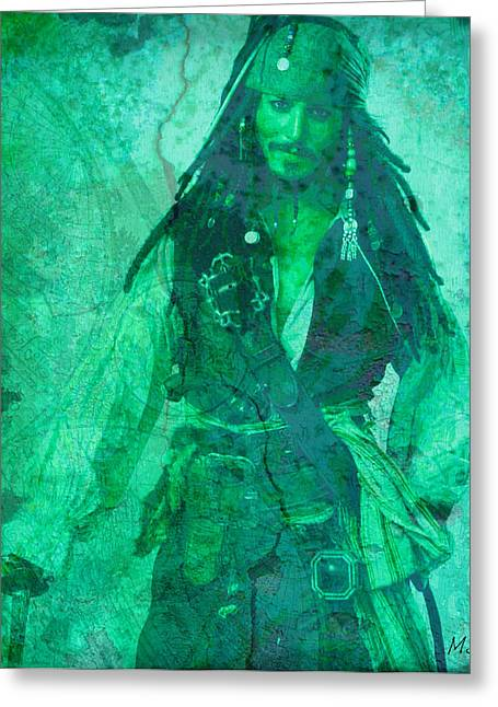 Pirate Johnny Depp - Shades Of Caribbean Green Greeting Card by Absinthe Art By Michelle LeAnn Scott