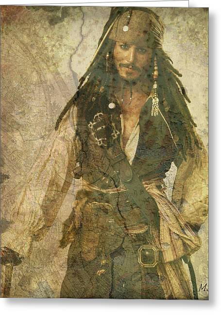 Captain Jack Sparrow Art Greeting Cards - Pirate Johnny Depp - Steampunk Greeting Card by Absinthe Art By Michelle LeAnn Scott