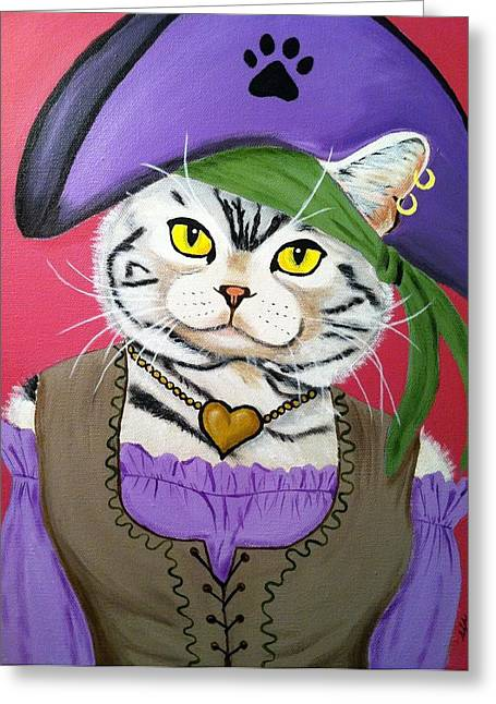 Buccaneer Paintings Greeting Cards - Pirate Kitty Greeting Card by Shari Sarachan
