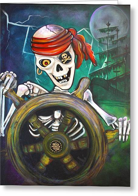 Pirate Ship Greeting Cards - Pirate Moon Greeting Card by Laura Barbosa