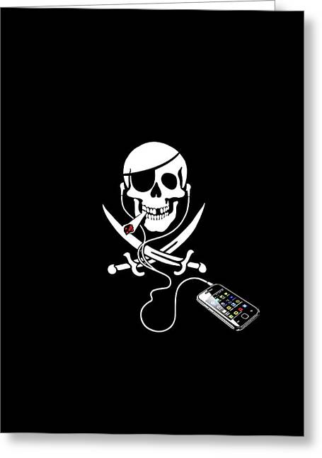 Cross Bones Greeting Cards - Pirate party, artwork Greeting Card by Science Photo Library
