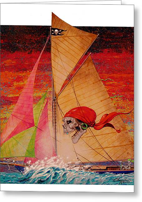 Pirates Paintings Greeting Cards - Pirate Passage Greeting Card by David  Chapple