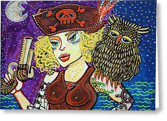 Pirates Paintings Greeting Cards - Pirate Quest For The Golden Owl Greeting Card by Laura Barbosa