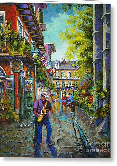 Streetscenes Paintings Greeting Cards - Pirate Sax Greeting Card by Dianne Parks