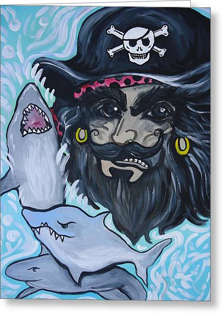 Buccos Greeting Cards - Pirate Shark Tank Greeting Card by Leslie Manley