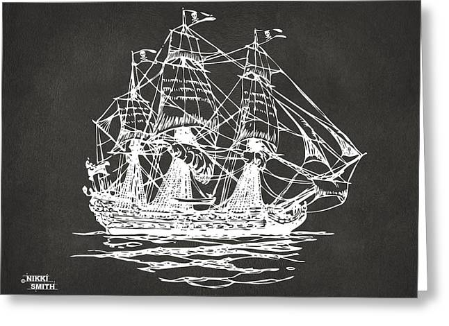 Pirate Ship Digital Greeting Cards - Pirate Ship Artwork - Gray Greeting Card by Nikki Marie Smith