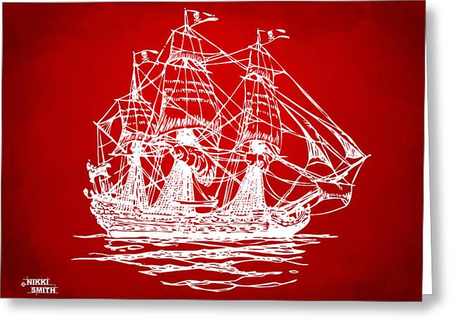 Pirate Ship Digital Greeting Cards - Pirate Ship Artwork - Red Greeting Card by Nikki Marie Smith