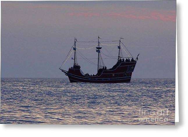 Boats In Reflecting Water Greeting Cards - Pirate Ship At Clearwater Greeting Card by D Hackett