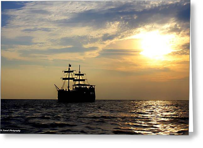 Pirate Ship At Sunset Greeting Card by Debra Forand
