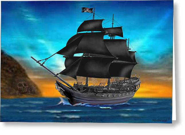 Pirate Ships Greeting Cards - Pirate Ship At Sunset Greeting Card by Glenn Holbrook