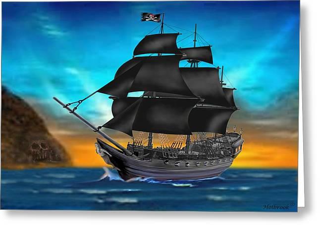 Pirate Ship At Sunset Greeting Card by Glenn Holbrook