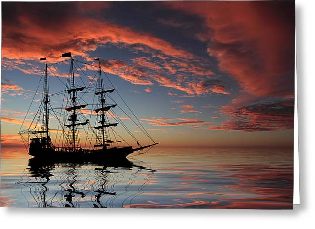 Ahoy Greeting Cards - Pirate Ship at Sunset Greeting Card by Shane Bechler