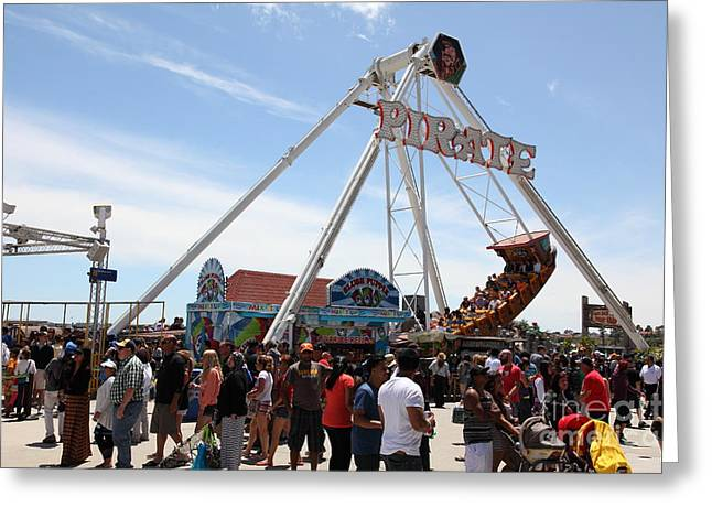 Santa Cruz Ca Greeting Cards - Pirate Ship At The Santa Cruz Beach Boardwalk California 5D23854 Greeting Card by Wingsdomain Art and Photography