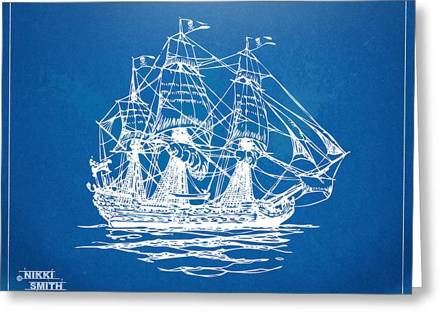 Pirate Ship Greeting Cards - Pirate Ship Blueprint Artwork Greeting Card by Nikki Marie Smith