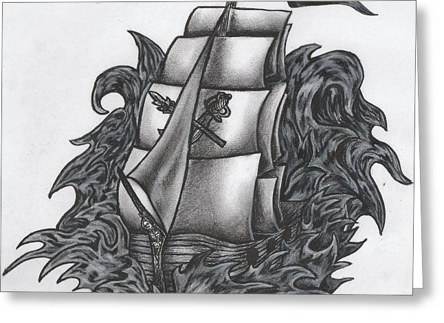 Pirate Ships Drawings Greeting Cards - Pirate Ship BW Greeting Card by Melissa Sink