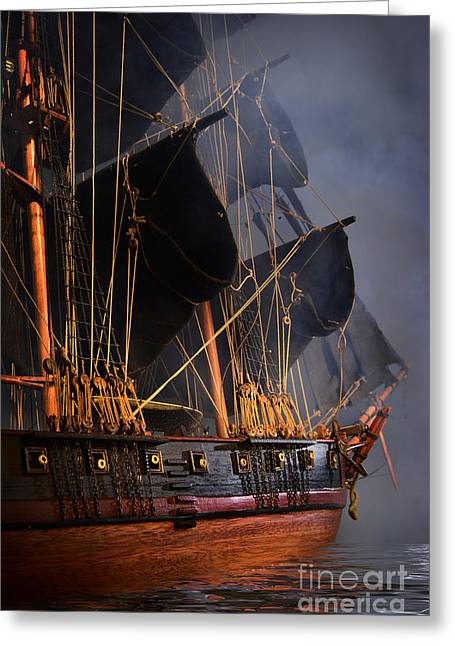 Pirate Ships Greeting Cards - Pirate Ship Greeting Card by Dianne Phelps