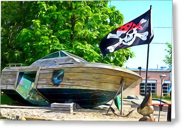 Buccaneer Paintings Greeting Cards - Pirate ship flag of the Skull and Crossbones 2 Greeting Card by Lanjee Chee