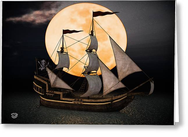 Historic Schooner Digital Greeting Cards - Pirate Ship In The Night Greeting Card by Todd and candice Dailey