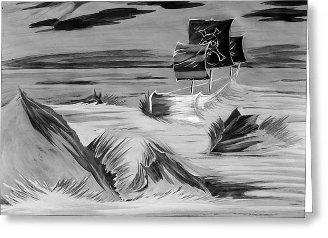 Comic Book Character Paintings Greeting Cards - Pirate Ship  Greeting Card by Jazzboy