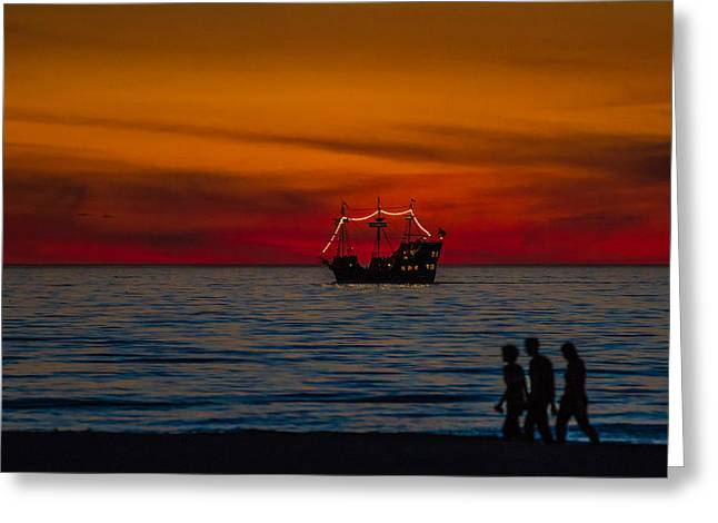 Yellow Sailboats Greeting Cards - Pirate Ship Greeting Card by Jeff Donald