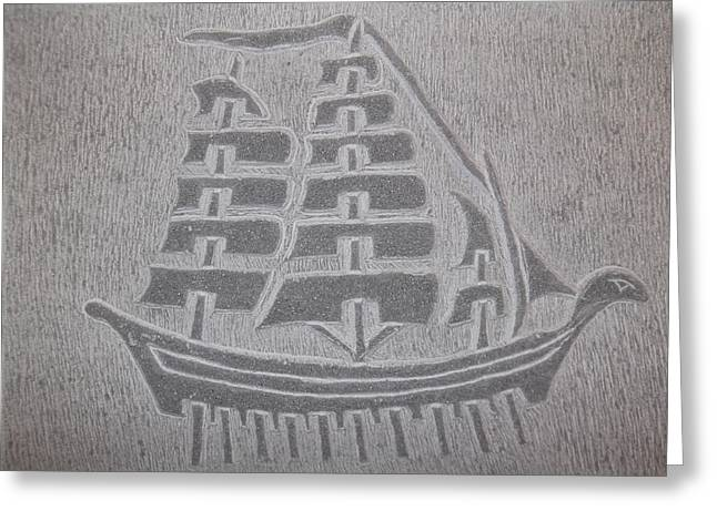 Pirate Ships Pyrography Greeting Cards - Pirate ship Greeting Card by Klorent Hysanj