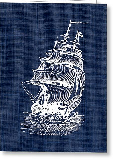 Bathroom Prints Greeting Cards - Pirate Ship Nautical Print Greeting Card by Jaime Friedman